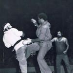 Concho Valley Pro Am, San Angelo, TX, Lft Ray Mc Cullum, Rgt Larry Lockhart, Joe Alvarado Ref, 12 May 1977