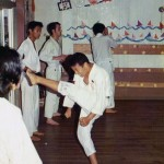 Soryukan, Sasebo, Jul 73, Jr High Boy performing Mae Geri, Unk Amer (B)
