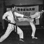 Soryukan, Sasebo, Jp, Michio Koyasu, #15 Performing Taisabaki Kumite Sukui Uke Yoko Geri, 1965