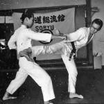 Soryukan, Sasebo, Jp, Michio Koyasu, #5 Performing Taisabaki Kumite Chudan Yoko Geri, 1965